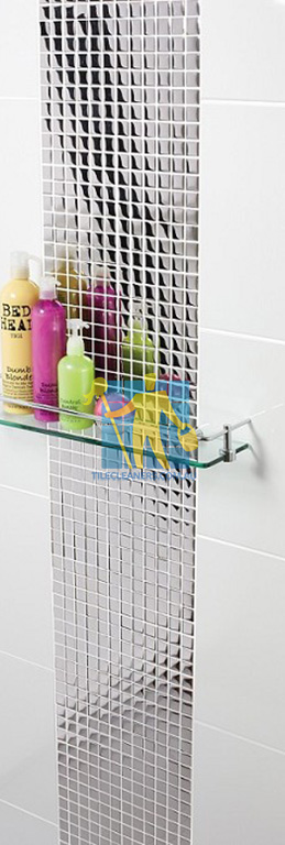 ceramic tile in shower flat gloss white with designer pattern Majura