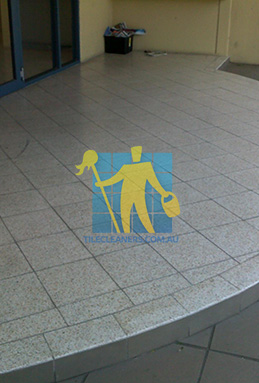 terrazzo tiles outdoor floor entrance curved dirty before cleaning Canberra