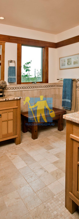 travertine tiles floor bathroom tumbled with mosaic corner wooden cabinets Canberra